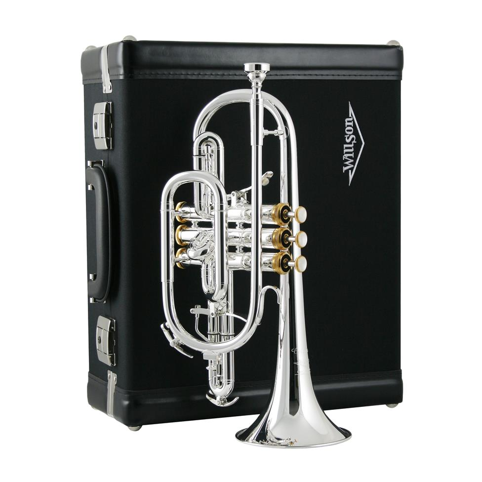 Willson Celebration 450 B flat cornet (silver, gold trim) Thumbnail Image 2