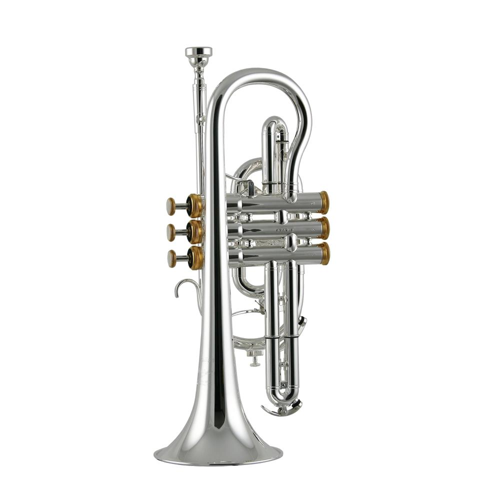 Willson Celebration 450 B flat cornet (silver, gold trim) Thumbnail Image 1