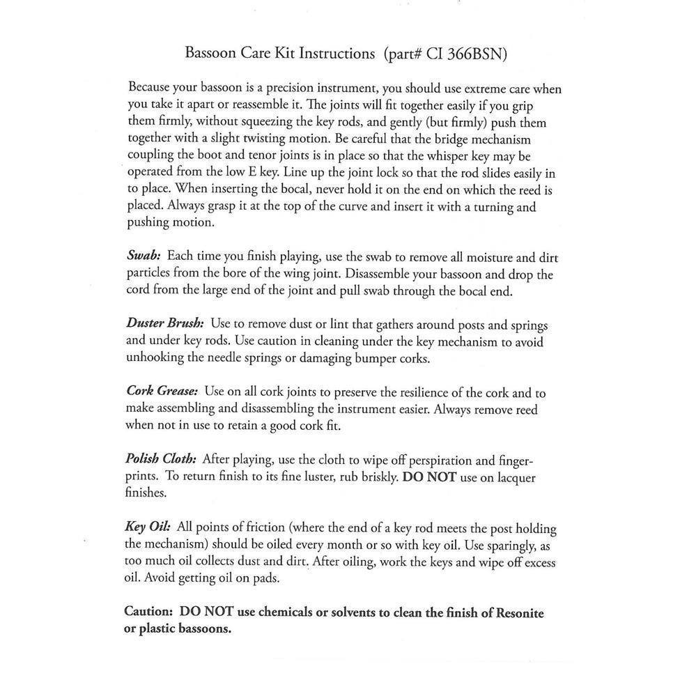 Conn bassoon care kit Thumbnail Image 1