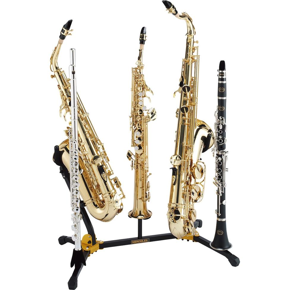 Hercules DS538B duo saxophone stand (with sop sax, flute and clarinet pegs) Thumbnail Image 1