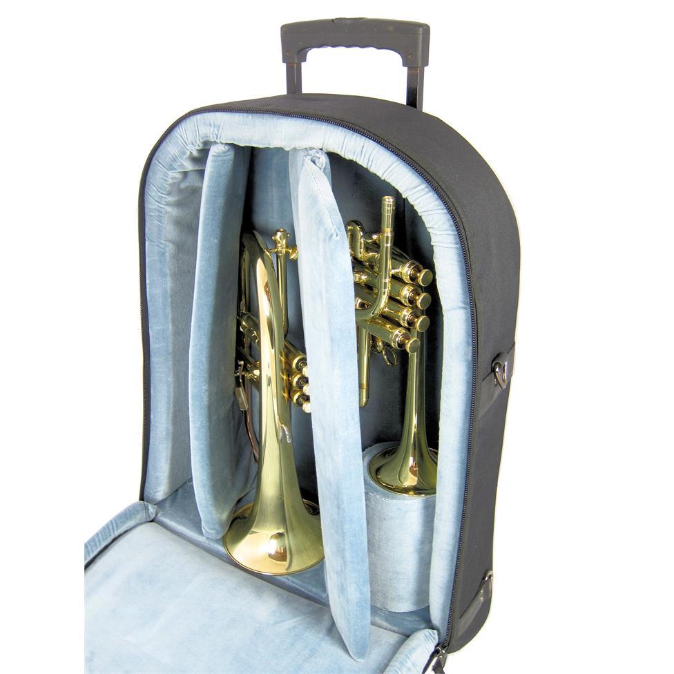 Vincent Bach piccolo trumpet + flugelhorn wheelie gigbag