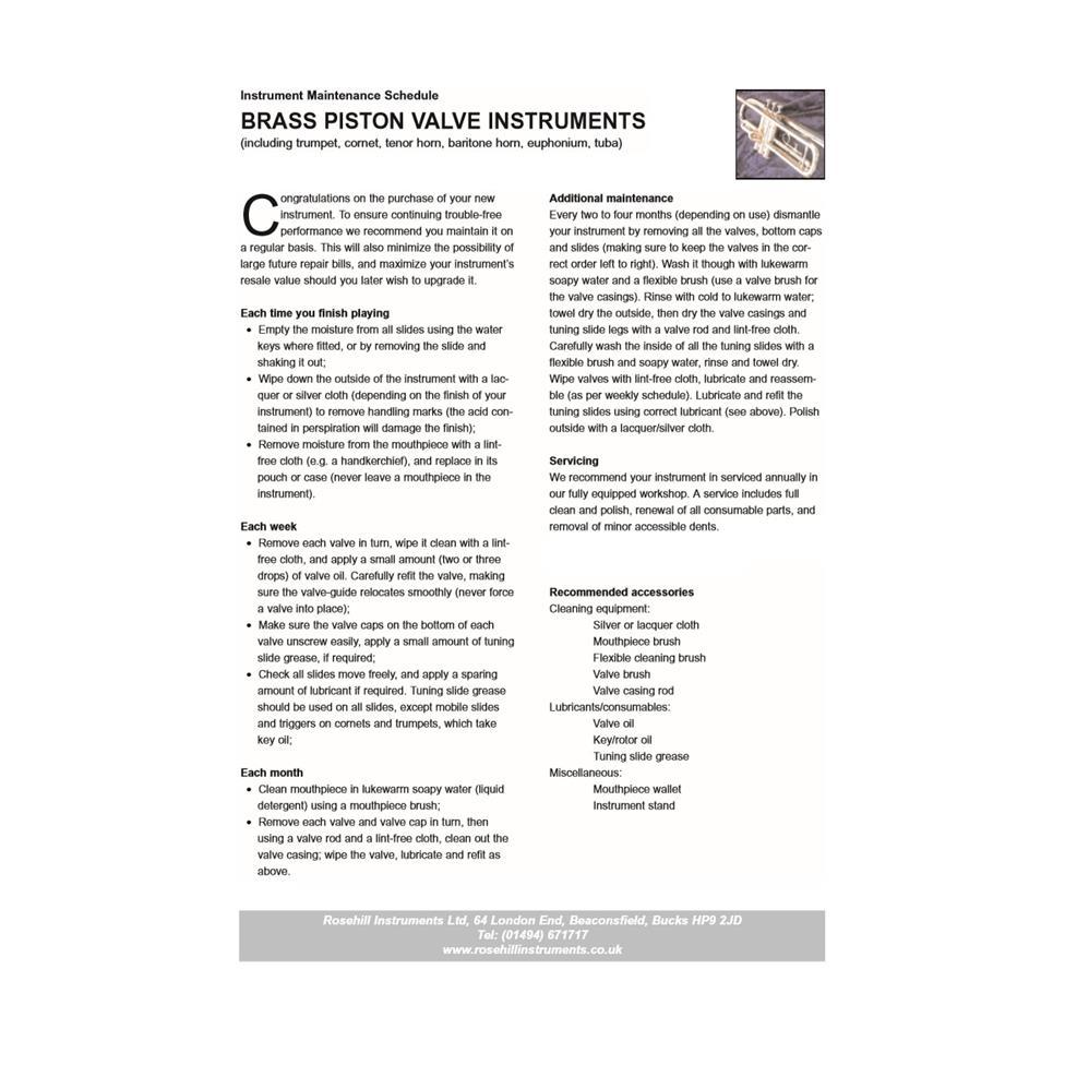 Instrument maintenance schedule